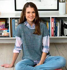 Smuk patentstrikket bluse strikket i 100% hør.