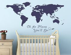 Oh the Places You Will Go World Map Quote Nursery Room by DiQuotes. In light green.