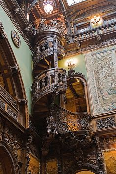 Wooden Spiral Staircase in Pele's Castle, Romania.