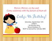 Custom Printable Snow White Birthday Party Package