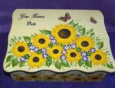 Hand Painted Sunflower Wedding Box Decorative by EssenceOfTheSouth Wedding Gift Card Box, Wedding Keepsake Boxes, Gift Card Boxes, Wedding Keepsakes, Wedding Boxes, Wedding Gifts, Decoupage Box, Wood Gifts, Wedding In The Woods
