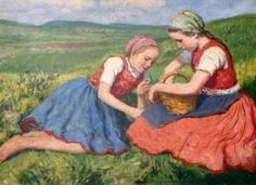 Two Young Girls In A Meadow