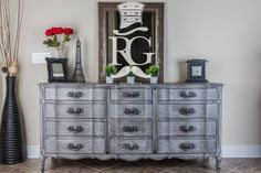 Dresser Painted in Annie Sloan Paris Grey, Clear Wax and Black Glaze