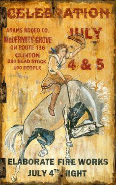 vintage rodeo celebration sign