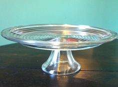Manhattan Depression Glass Cake Plate by WillowOsborne on Etsy, $40.00....WANT!!!! (not sure they made this though is this vintage Manhattan??)