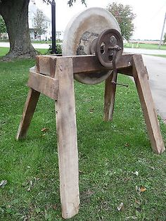 Antique Stone Grinding Wheel All Original With Oak Frame