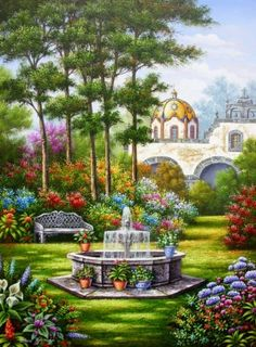 garden, church, fountain, flowers, flora by Arturo Zarraga Fantasy Landscape, Landscape Art, Landscape Paintings, Beautiful Paintings, Beautiful Landscapes, Beautiful Gardens, Nature Pictures, Art Pictures, Beautiful Pictures