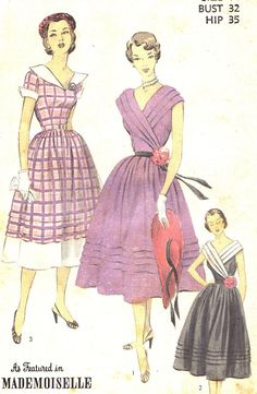 Vintage Sewing Pattern 1950s Advance 5851 Evening Dress with Full Skirt and Pin Tuck Details