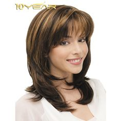 10YEAR ® Fashion Woemen Fluffy Slight Curly Blend Wig Mix Color - Synthetic Wigs