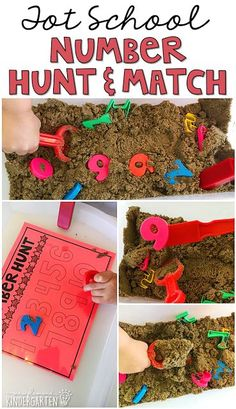 We LOVE this number hunt and match sensory bin. Great for a Chicka Chicka 123 theme in tot school, preschool, or even kindergarten! Learning Numbers for Toddlers Numbers Preschool, Learning Numbers, Preschool Classroom, Kindergarten Activities, Preschool Crafts, Preschool Binder, Classroom Ideas, Numbers Kindergarten, Preschool Ideas