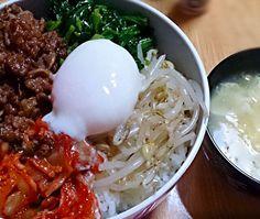 夕飯メニュー♪  ビビンバ 卵スープ チョレギサラダ - 13件のもぐもぐ - ビビンバ♡ by ntu8