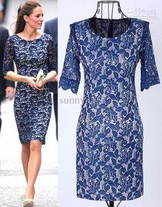 Wholesale Casual Dresses - Buy Spring New Fashion Women Clothing Kate Middleton Lace Dress Lady Elegance Leggings Slim Dresses, $37.42 | DHg...