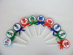 Pj Masks lollipops. Party Favor. Goodie bag Boys and Girls Candy Birthday Party...SET OF10..