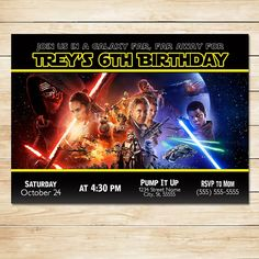 Star Wars Invitation Force Awakens Poster  by ApothecaryTables