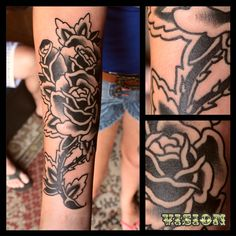 rose black tattoo oldschool traditional by: Renato Vision (old vision tattoo) https://instagram.com/renatovision/