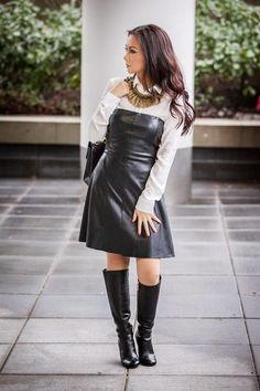 Cute black leather dress outfit with white shirt and knee boots