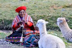Peruvian woman spinning wool from llamas near Cuzco, Peru