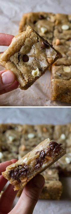 Triple Chip Cookie Bars. Chewy, fudgy & filled with chocolate chips - you'll… #BakingRecipes