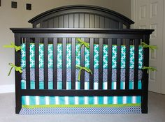 Custom Crib bedding Turquoise Lime Green and by GiggleSixBaby