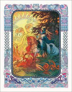 Illustration from the Tale of the Dead Princess and the Seven Knights Art And Illustration, Illustrations, Ivan Bilibin, Seven Knight, Russian Folk Art, Fantasy Kunst, Art Nouveau, Fairytale Art, Fantastic Art