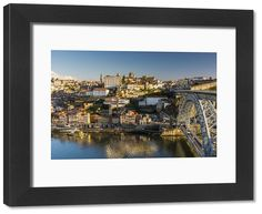 inch mm) wooden frame with digital mat and print (other products available) - City skyline with Douro river and Dom Luis I bridge, Porto, Portugal - Image supplied by AWL Images - Framed Print made in the USA Poster Prints, Framed Prints, Framed Wall, Douro, Travel Images, Heritage Site, Airplane View, City Photo, Portugal