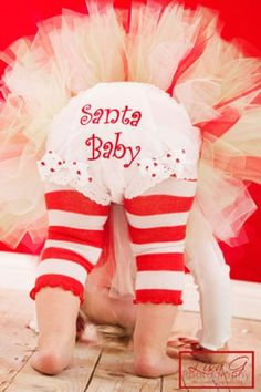 Santa baby....oh how cute this would be for a Christmas card! I would use a little red puff paint & maybe some glitter!