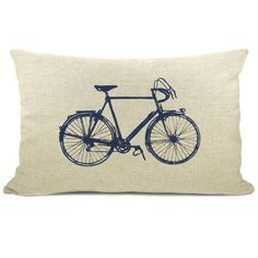 Personalized pillow case - Vintage bicycle print with your color print on your choice of fabric - 16x16 or 12x18 decorative pillow cover