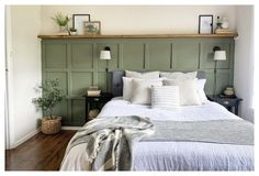 Bedroom Wall Designs, Bedroom Wall Colors, Accent Wall Bedroom, Room Ideas Bedroom, Home Bedroom, Bedroom Decor, Decorating Walls In Bedroom, Master Bedroom Color Ideas, Green Bedroom Walls