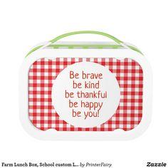 Shop Farm Lunch Box, School custom Lunchbox created by PrinterFairy. Camping Theme, Back To School, Lunch Box, Teacher, Professor, Teachers, Bento Box, Entering School, Back To College