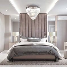 Bedroom. Brown. Beige. Light brown. Grey bedding. Velvet headboard. Mirrors. Chandelier. Russian style.