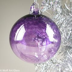 Blown Glass Wall Art, Glass Ornaments, and Blown Recycled Bottle Glass Gifts @ Wolf Art Glass of Austin, Texas Purple Christmas Ornaments, Christmas Tree And Santa, Christmas Colors, Glass Ornaments, Christmas Sayings, Silver Christmas, Christmas Decor, Christmas Ideas, Merry Christmas