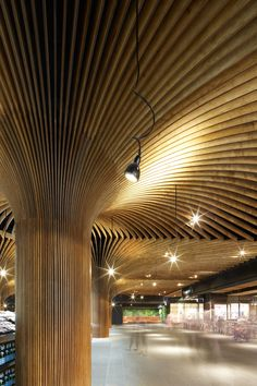 #Wooden trees that seem to be connected. A natural viewing experience in a market in Sidney. #Wood you like to live it, #Woodlovers?