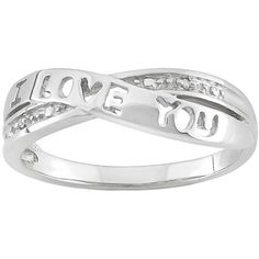 Diamond Accent Sterling Silver ''I Love You'' Crisscross Ring (White) (9.785 HUF) ❤ liked on Polyvore