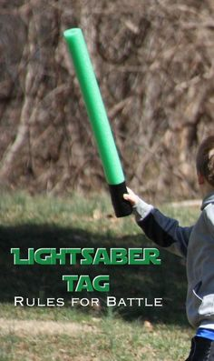 Lightsaber Tag: easy DiY game for a Star Wars party | This would be fun for any group of kids. Just pool noodles and duct tape. Nice and soft.