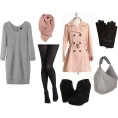 sweater dress+wedge booties+trench coat = love