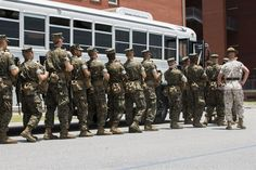 Recruits of Lima Company, 3rd Recruit Training Battalion, practice hurricane evacuation procedures June 24, 2015, on Parris Island, S.C. The practiced evacuation was part of a hurricane exercise that simulated the efforts needed to evacuate permanent personnel, recruits and equipment. After the week-long exercise, officials will review the outcome and apply any necessary changes to ensure Parris Island can continue making Marines regardless of what mother nature throws at the Lowcountry.