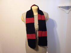 Handmade Scarlet and Black Striped Scarf