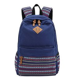 Unisex Fashionable Canvas Zip Bohemia Boho Style Backpack School College  Laptop Bag for Teens Girls Boys 0054181383359