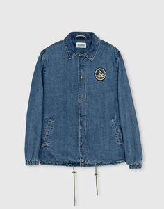 Pull&Bear - homme - vêtements - blousons et vestes - blouson denim style coach patches - bleu - 09710557-I2016