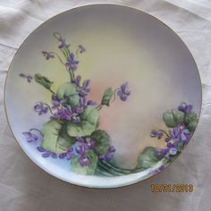 Antique Limoges Haviland France Handpainted Violets Artist Signed Plate | eBay