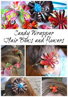 how to make hair bows and flowers out of Candy Wrappers! - Sugar Bee Crafts