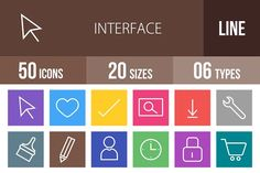 50 Interface Line Multicolor Icons by IconBunny on @creativemarket