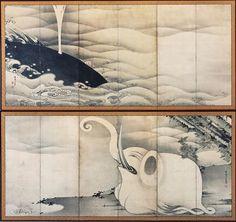 伊藤若冲「象と鯨図屏風」
