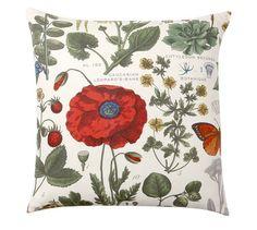 Poppy Botanical Print Pillow Cover, 24X24
