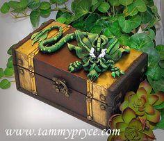 Ooak Polymer Clay Green Sad Little Dragon on Old by TammyPryce