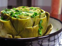 The Perfect Steamed Artichoke from Summer Tomato. Yum
