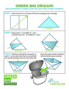 INstructions on how to make a newspaper origami compost bin liner via https://www.facebook.com/CityofVancouver?rf=454071101278994
