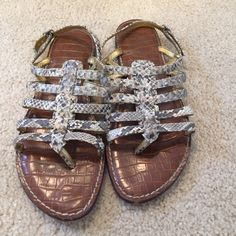 Sam Edelman Sandals Super comfy, cushioned bottoms.  Snake skin print. Look great with a black sundress! Couple of scuffs on the front as noted in pic Sam Edelman Shoes Sandals