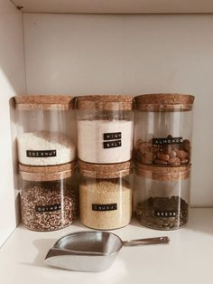 Love organising stuff, especially using jars and my fave dymo label maker. Love organising stuff, especially using jars and my fave dymo label maker. Kitchen Organization Pantry, Home Organisation, Kitchen Storage, Kitchen Decor, Organized Pantry, Kitchen Pantry, Pantry Storage, Organised Home, Kitchen Jars