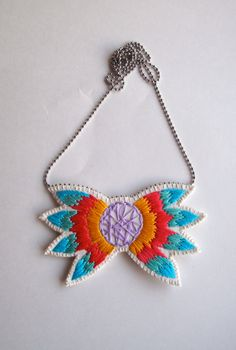Long embroidered abstract pendant in vivid colors by #AnAstridEndeavor #jewelry